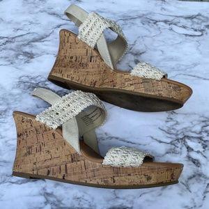 American Eagle cork wedge crochet platform sandal